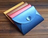 50pcs Pearl Paper Envelopes For Wedding Invitation Card Crafts Gift Postcard Packaging Heart Closure Envelopes