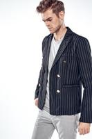 MarKyi Brand Stripted Mens Black Double Breasted Blazer 2017 Fashion Long Sleeve Men Blazer Pattern Slim