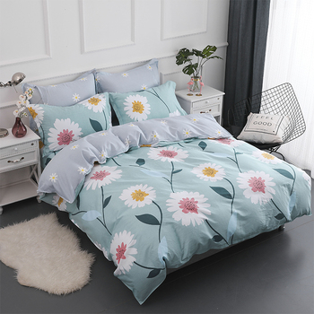 Sun Fowers Printed Home Textile Printed Bedding Set Bed Cover Bed Sheet Duvet Cover Pillowcase Bed Linen Bedclothes Queen