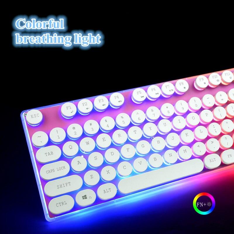 цена на Gaming Mechanical Keyboard Anti-ghosting Black white Switch Backlit LED wired Retro Round keycap stickers keyboard gamer