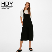 HDY Women Casual Jumpsuits Black Loose Style Wide Leg Overalls High Quality Female Jumpsuit 2017 Spring