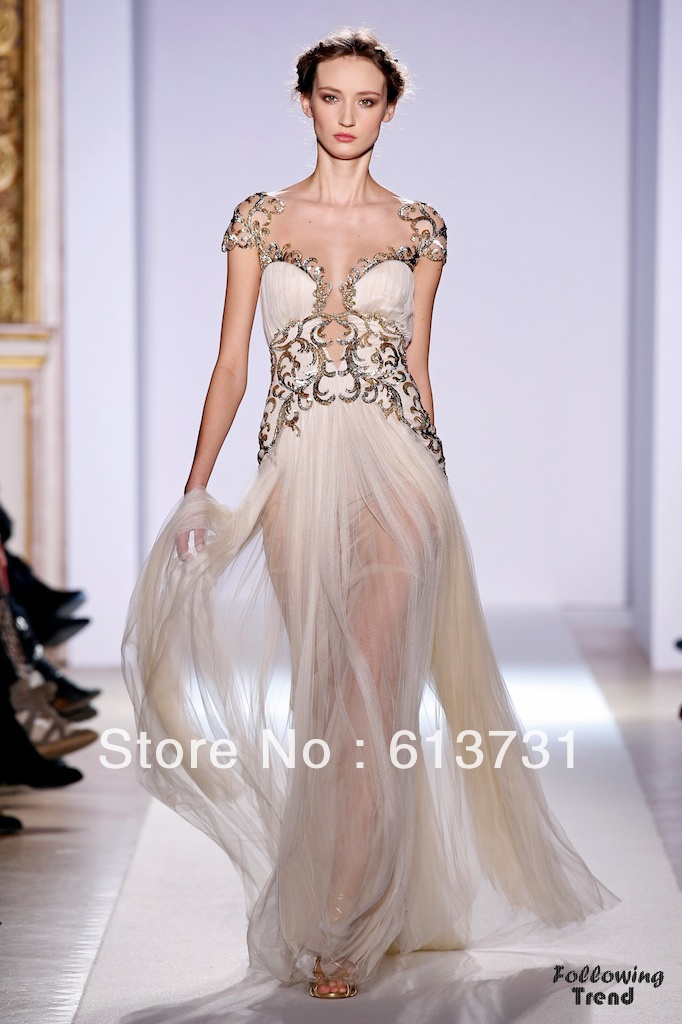 Cap sleeves gold appliqued tulle champagne evening dresses for Haute couture dress price