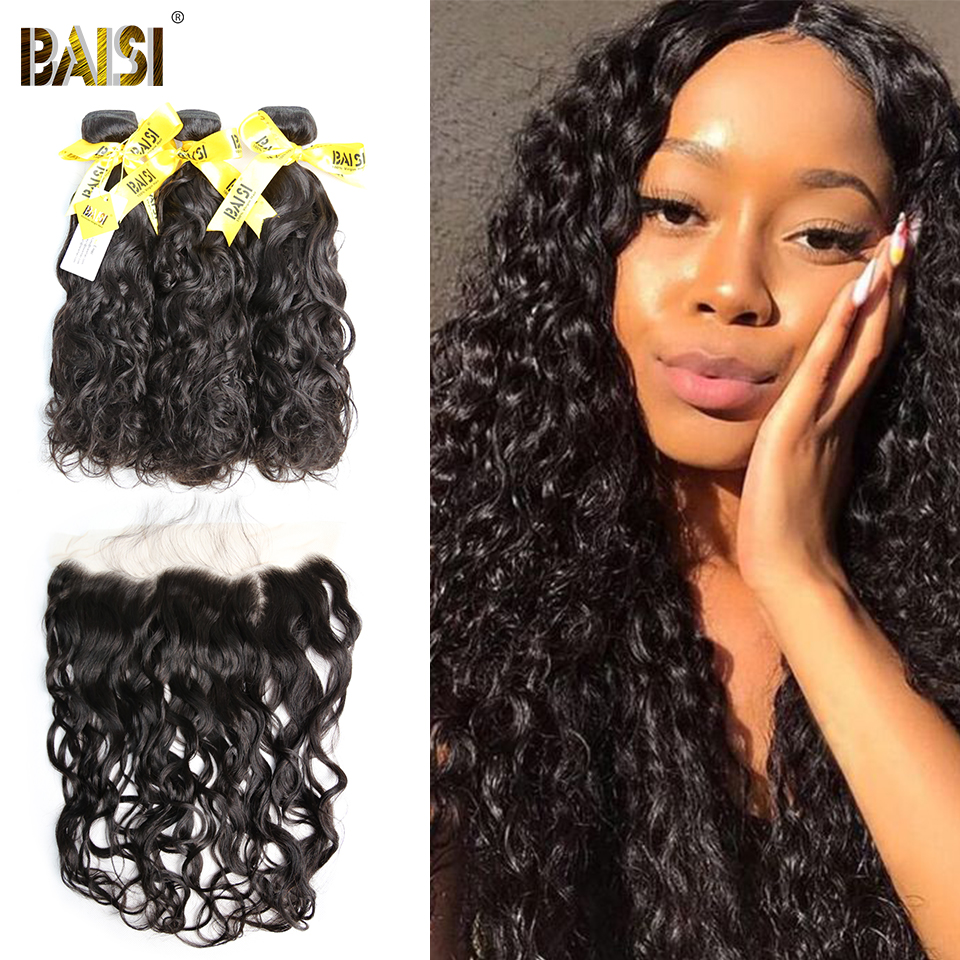 BAISI Hair 100% Unprocessed Human Hair Peruvian Water Wave Virgin Hair Bundles with 13x4 Lace Frontal-in 3/4 Bundles with Closure from Hair Extensions & Wigs    1