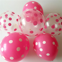 50pcs/lot Transparent wave point  12inch 2.8g pink and rose red color balloon helium kids birthday decor globos High-quality