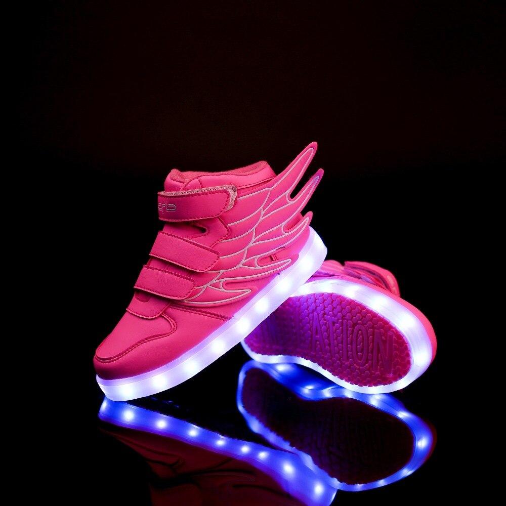 Hot vente 2016 mode ailes enfants Sneakers enfants chaussures légères haute Top garçon fille chaussures lumineuses Led 2mnTSf