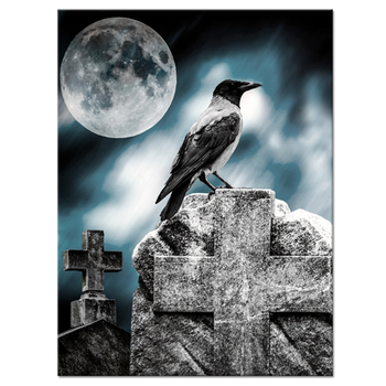 Canvas Wall Art Gothic Crow Staying on Tombstone Under Full Moon