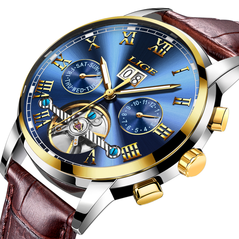 New LIGE Luxury Brand Men's Automatic Watches Men Fashion Casual Watch Man Waterproof Leather Business Clock relogio masculino