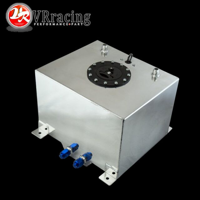 VR RACING 30L Aluminium Fuel Surge tank mirror polish Fuel cell with cap foam inside with
