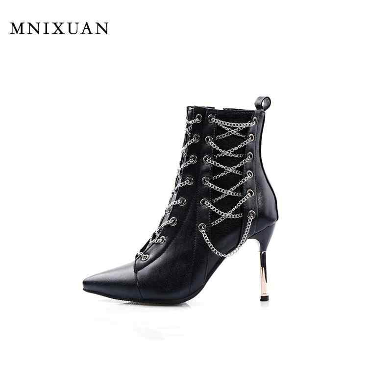 MNIXUAN 2019 ใหม่ฤดูใบไม้ผลิฤดูหนาว super รองเท้าส้นสูงข้อเท้าผู้หญิงหลอดเต้นรำไนท์คลับรองเท้าสีดำสีเงินขนาดใหญ่ขนาด 10