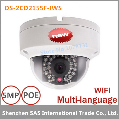 Hikvision DS-2CD2155F-IWS 5MP IP Camera WDR Fixed Dome Network Camera Support H.265 IP67 IK10 PoE 30m IR Audio wifi free shipping in stock new arrival english version ds 2cd2142fwd iws 4mp wdr fixed dome with wifi network camera