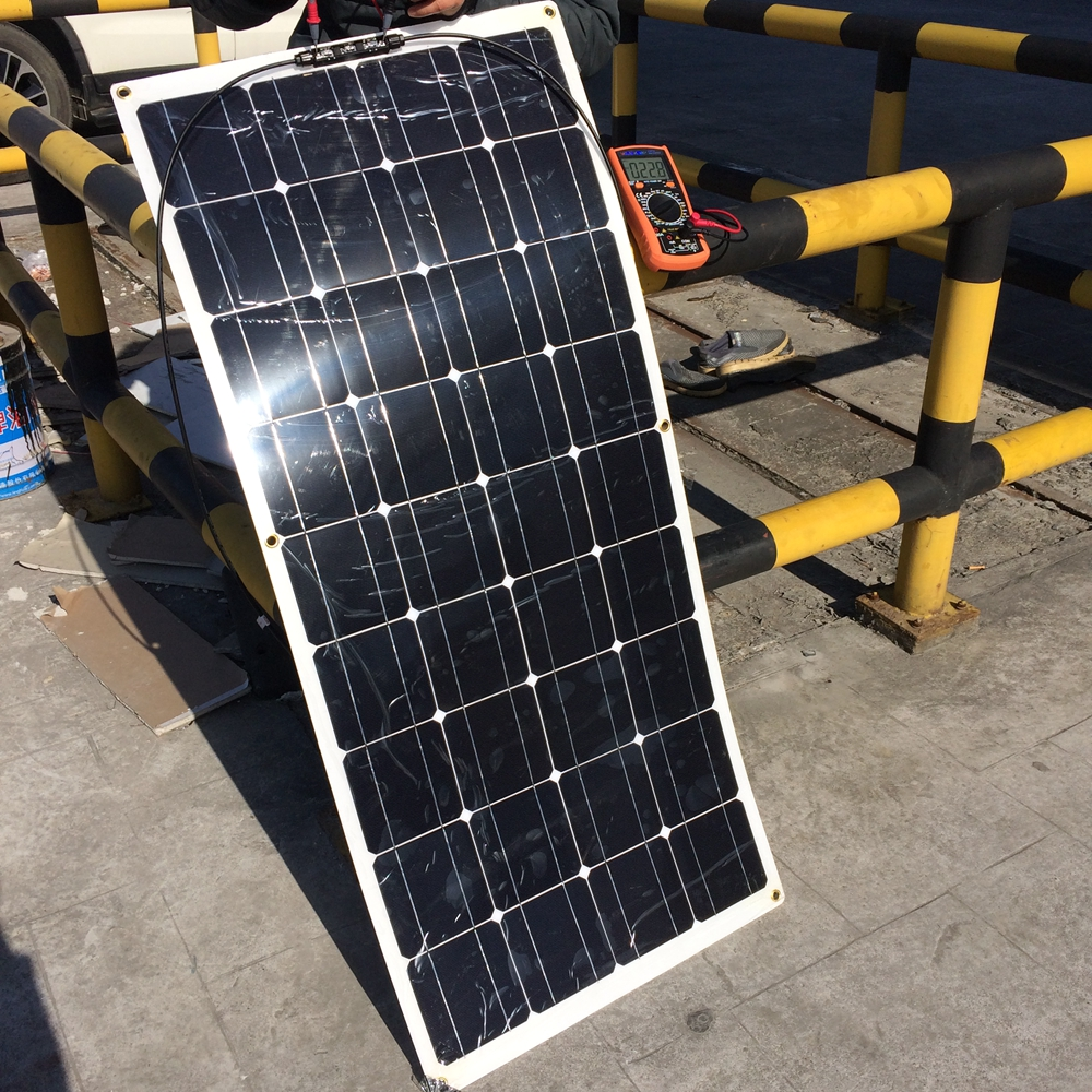 20V 100W Flexible Solar Panel Module High Efficient 36pcs Cells 100W for RV Marine Boat 12V Battery Solar Charger 1200*560*4 sp 36 120w 12v semi flexible monocrystalline solar panel waterproof high conversion efficiency for rv boat car 1 5m cable