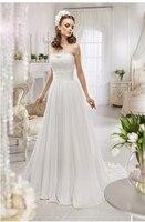 Hot Sale Vestidos De Noiva Customed New Model 2014 Strapless Top Lace Chiffon Beach Vintage