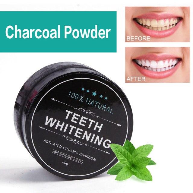 30g blanqueamiento polvo de carbón activado de bambú Natural de coco dientes blanqueamiento polvo de carbón Tártara de higiene Oral