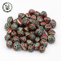 Handmade Indonesia Beads Brass Findings With Natural Dyed Turquoise Cube Mixed Color 8 14x8 12 5x8