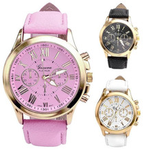 HOT!!! Geneva Women's Fashion Roman Numerals Faux Leather Analog Quartz Watches wholesale Free Shipping
