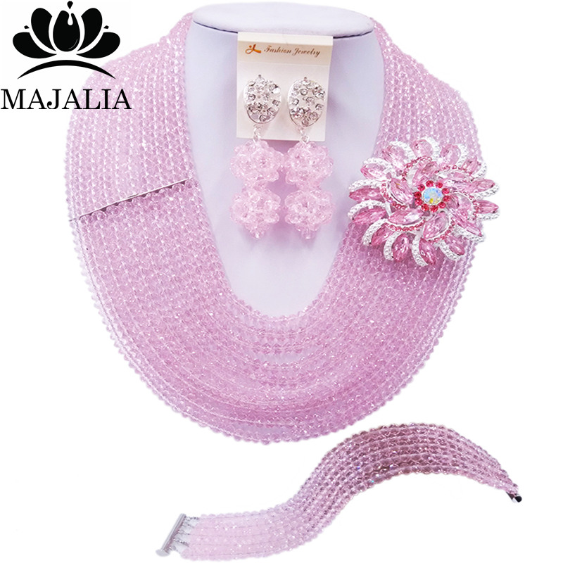 Majalia Fashion Nigeria Wedding African Beads Jewelry Set Pink Crystal Necklace Bridal Jewelry Sets Free Shipping 10MK025Majalia Fashion Nigeria Wedding African Beads Jewelry Set Pink Crystal Necklace Bridal Jewelry Sets Free Shipping 10MK025