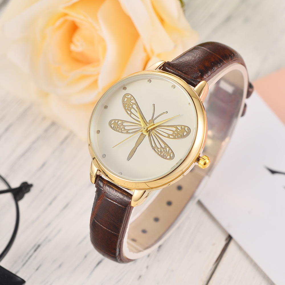 Fashion Ladies Big Dragonfly Watches Student Elegant Quartz Leather Band Watch Head Watches Creative For Girl Zegarek Damski