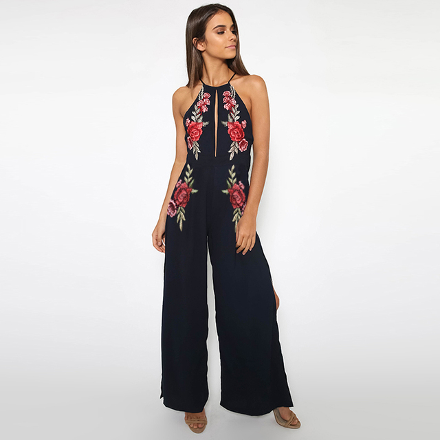 ba0220f7aa15 Dark blue spaghetti strap halter neck side slit wide leg jumpsuits for  women ladies floral embroidered open back sexy jumpsuits