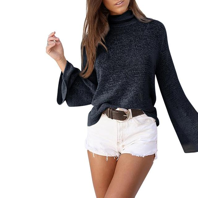 Fashion Women Turtleneck Knitted Backless Long Sleeve T-Shirt Open Back Shirt Casual Tee Tops Plus Size LJ7690M