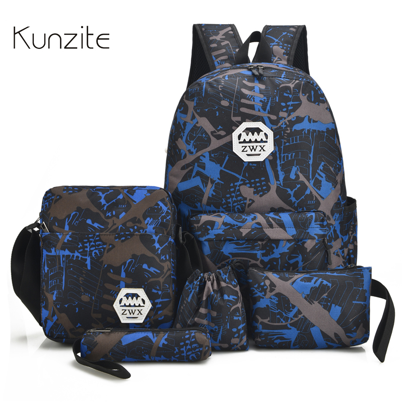 Kunzite 5 PC/Set Men and women Backpacks Casual Travel Backpack Mochila Teenagers Women Student School Book Bags Laptop Backpack logo messi backpacks teenagers school bags backpack women laptop bag men barcelona travel bag mochila bolsas escolar