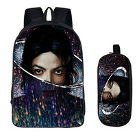 2PC Set With Pencil Case Student Backpacks DIY Michael Jackson Printing Cool Children SchoolBags For Boys