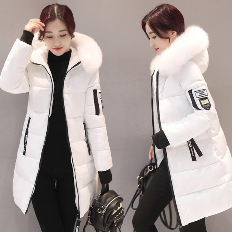 Six senses women parka Warm Fur Hooded Coat Winter Jacket Zipper Down Cotton Parka Slim long sleeve Outwear snow wear DL3811 free shipping winter jacket men down parka warm coat hooded cotton down jackets coat men warm outwear parka 225hfx