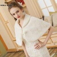 Ivory Faux Fur Winter Women Wedding Party Cloak Wedding Dress Cape Bolero Bridal Wraps