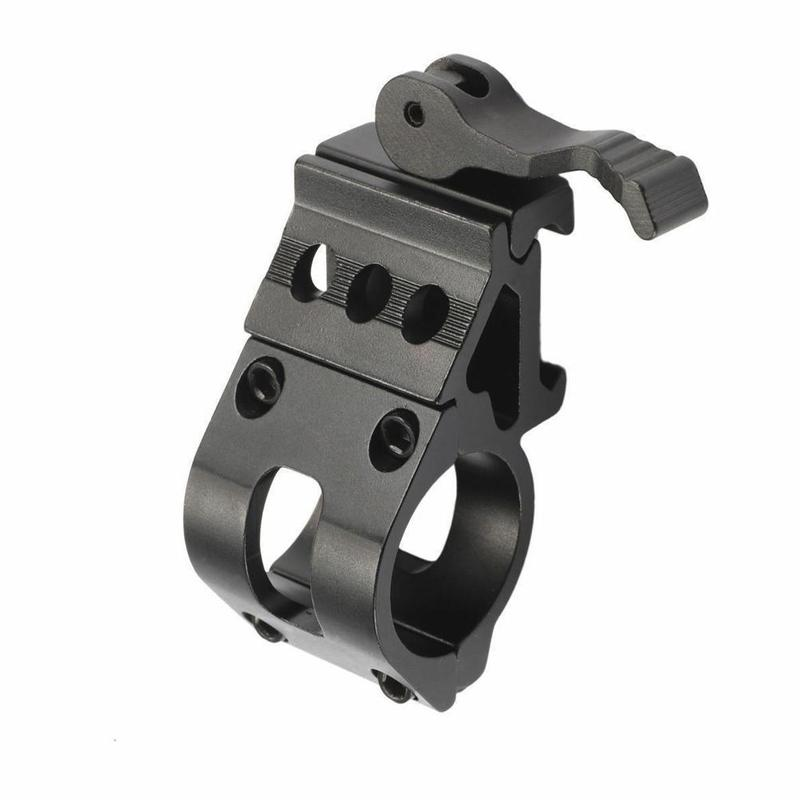 45 Degree Offset Ring Flashlight Holder Mount For 20mm Picatinny Weaver Rail 25.4mm Tube With QD Quick Release Base