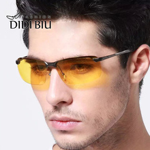 DIDI Night Vision Polarized Sunglasses Men Rimless Yellow Lens Military Alloy Frame Glasses Goggles Pilot Driving Eyewear H478