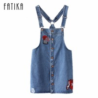 FATIKA New Womens Denim Suspender Skirt Casual Straight Button Front Women Jean Skirts Ladies Fashion Embroidery