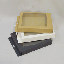 Sulalin 10pcs White Black Gift Display Paper Box With Window Kraft Supermarket DisPlay Giftboxes
