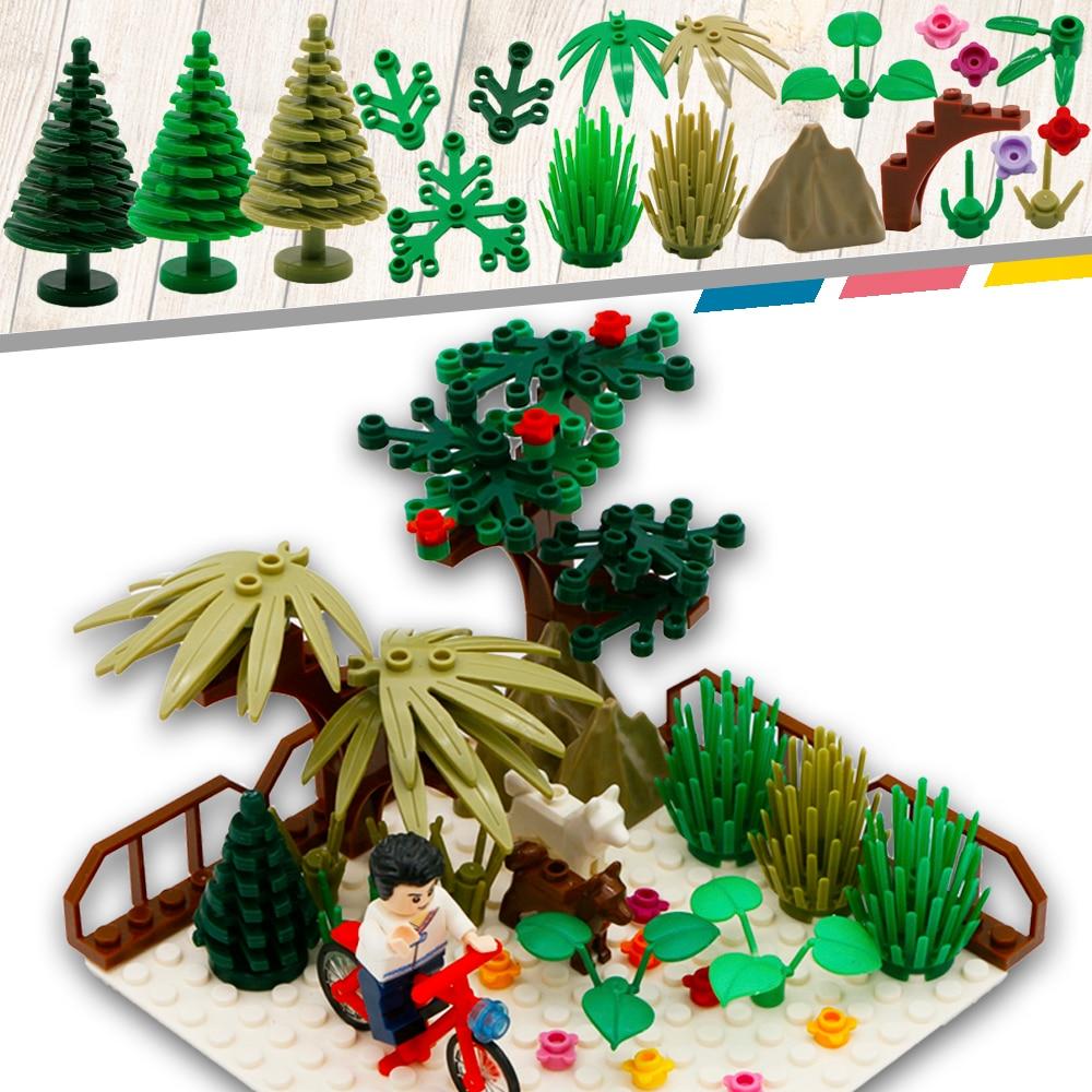 Kota MOC Aksesori Bagian Bangunan Blok Mini Pohon Bunga Tanaman - Mainan bangunan dan konstruksi - Foto 1