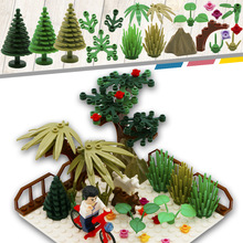City MOC Accessory Part Bouwstenen Mini Tree Flower Plant Grass Friend Military Compatible LegoINGlys City Toy For Children
