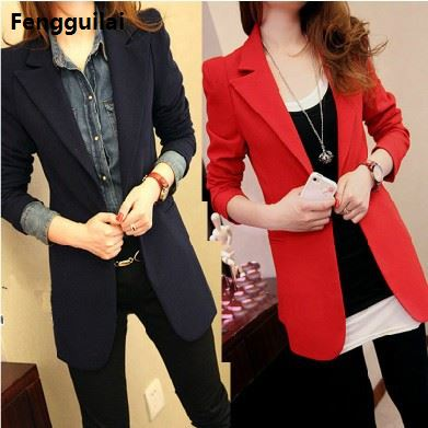 Plus Size Long Blazer Feminino Women Casual Suit Jackets Blaser Femininos Elegant Slim Blazers Female Workwear Office Coats
