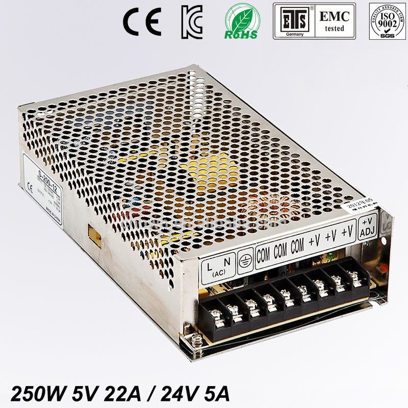Best quality double sortie 5V 24V 250W Switching Power Supply Driver for LED Strip AC100-240V Input to DC 5V 12V free shipping free freight wall lights online driver hidden in walls ac100 240v dc 12v 24v quality components thin base elegant chrome finish