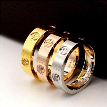 Bague Clássico Da Moda De Luxo Famosa Marca de Aço de titânio Cruz Patter Amor Anel de Casamento Para As Mulheres/Homens Amantes da Cor de Ouro jóias