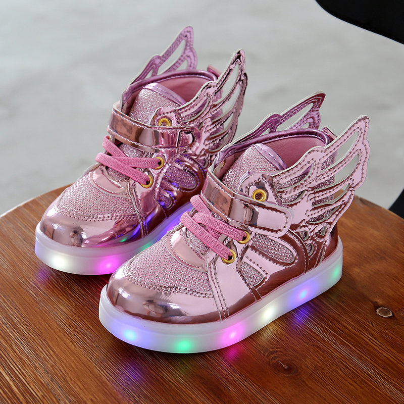 pretty nice 03b6d 37d6b Children shoes with light 2017 Fashion glowing sneakers boys little girls  shoes wings canvas flats spring kids light up shoes