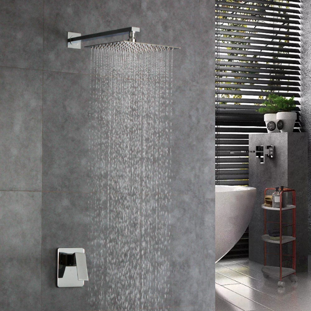 Contemporary 12 INCH Wall Bathroom Shower Faucet Brass Waterfall Set Chorme Rainfall Shower Mixer Tap стоимость