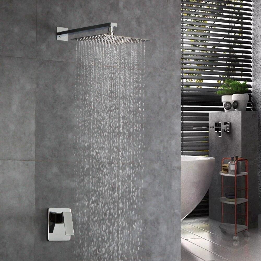 Robinet de douche contemporain de salle de bains de mur de 12 pouces ensemble de cascade en laiton robinet de mélangeur de douche de pluie de Chorme