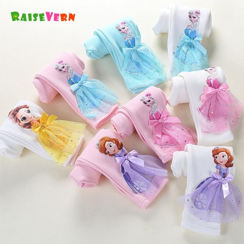 Cute Girl Elsa Anna Cartoon Trousers Kids Anime Leggings Colorful Long Pants 3D Princess Doll Legging Children Clothing