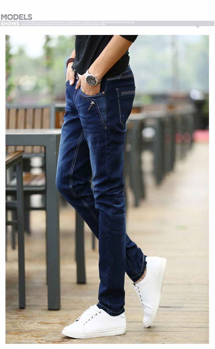 KSTUN Jeans Men's Stretch Blue Buttons Pockets Design Slim Fit Skinny Denim Pants Joggers Jeans Casual Biker Motor Male Trousers 17