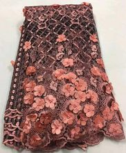 Baby Pink African Lace Fabric, 3D Applique Lace for Wedding, Bridal Dress Tulle Lace Fabric ALC-W004(China)