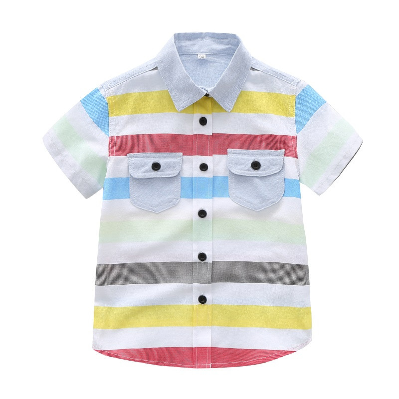 Tshirt Baby Short-Sleeve Collar Print Striped Summer Turn-Down