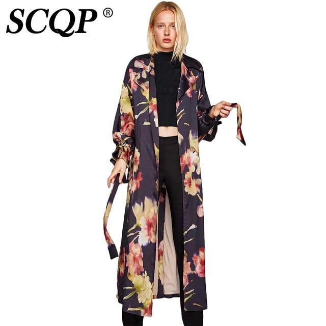 51bb1af129a6e SCQP Black Floral Print Kimono Cardigan Sashes Spring Casual Kimono Femme  2017 New Long Sleeve Japanese Style Kimonos Jacket