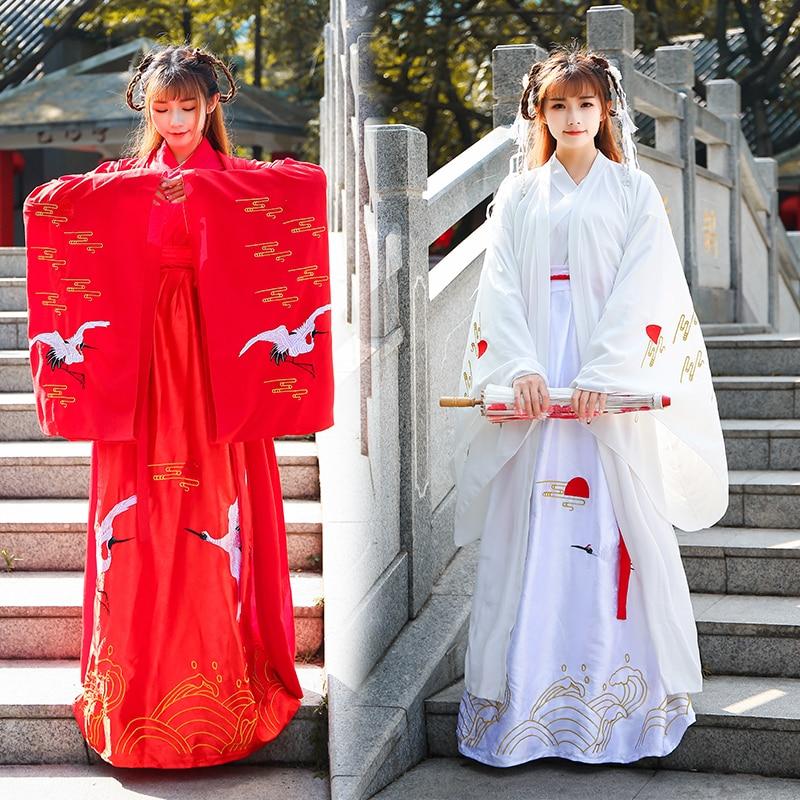 Style ancien rouge femmes Hanfu pour adulte blanc chinois robe rouge-couronné grue Han dynastie Folk danse robe scène Costumes BL1183