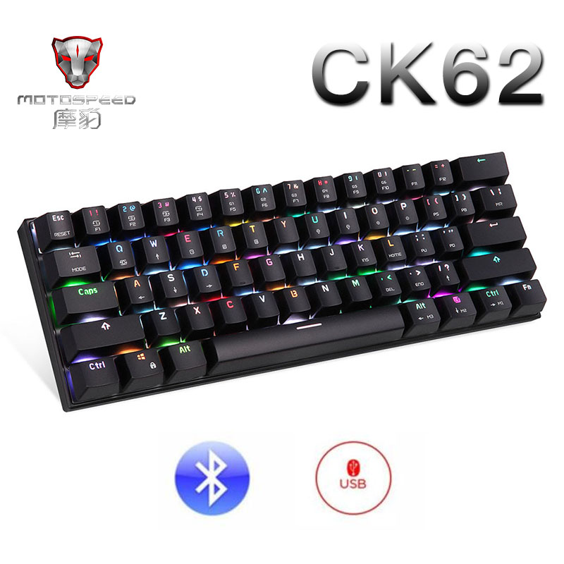 Motospeed CK62 Wireless Bluetooth Mechanical Gaming Portable 60% Keyboards 61Keys RGB Backlight Blue Red Switch Detachable Cable