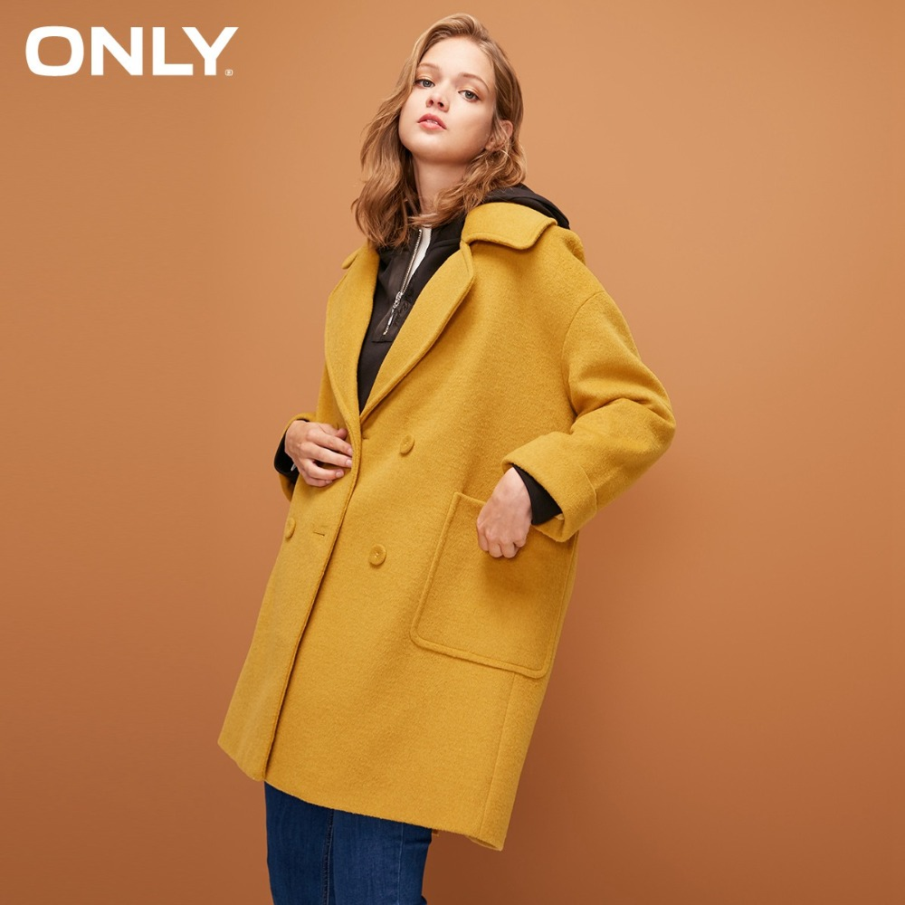 ONLY  Womens' Winter New Long Section With Wool Double-breasted Woolen Coat Simple And Versatile Double-breasted|11836T512