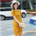 Elegant Dress 2017 New Summer Short Sleeve Hollow Out Sheath Above Knee Fashion Women Yellow / Sky Blue Brief Dress