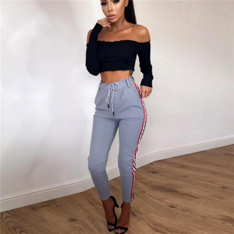 Fashion Side Stripe Drawstring Pants 2019 Summer Trousers For Women Leggings High Waist Straight Knitted Solid Elastic Trousers