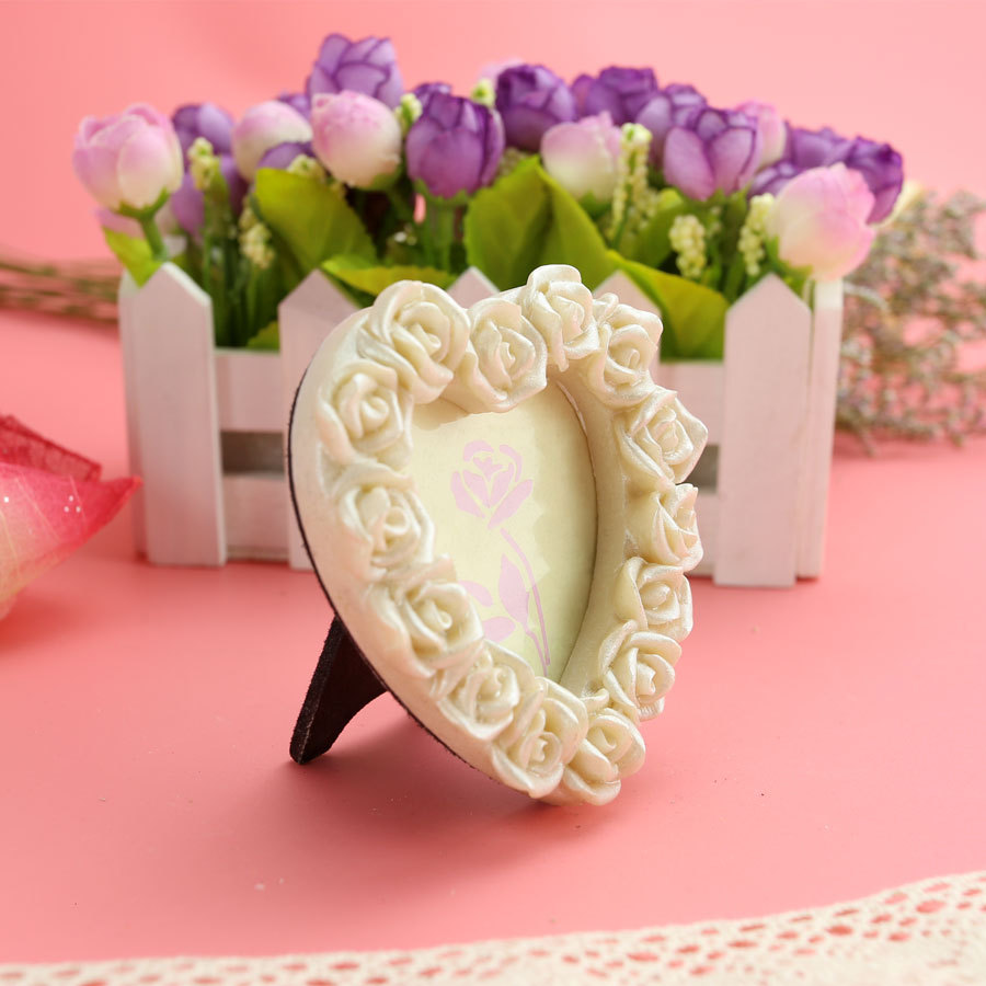 White Rose rimmed baby Photo Frame Place Card Holder Wedding favors ...